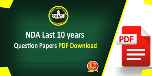 NDA Last 10 years question papers PDF Download